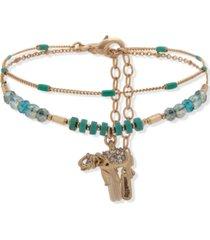 lonna & lilly gold-tone 2-pc. set pave elephant beaded ankle bracelets