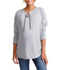 ingrid & isabel(r) cocoon lace-up maternity top, size large in light heather grey at nordstrom