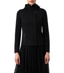akris ellyn stretch jersey hooded moto jacket, size 6 in black at nordstrom