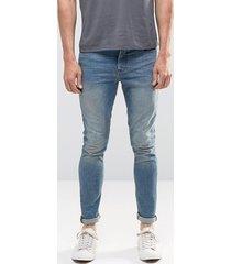 asos - jeans super skinny in denim da 12,5 once color azzurro - blu