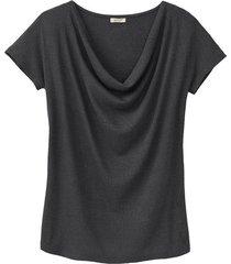 shirt met watervalhals, zwart 40