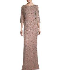 aidan mattox women's embellished three-quarter-sleeve gown - rose gold - size 2