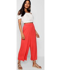 basic jersey wide leg culottes, tropical orange