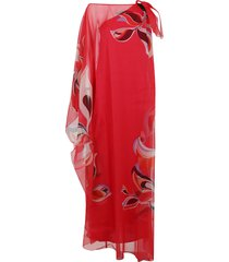 emilio pucci one-shoulder dress with heliconia print