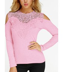 rosa camiseta de moda de manga larga con hombros descubiertos y encaje