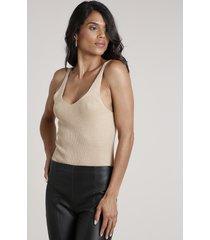 body feminino em tricô com lurex alça média decote v dourado