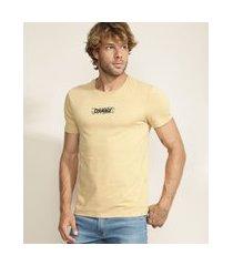 "camiseta masculina courage"" manga curta gola careca bege"""