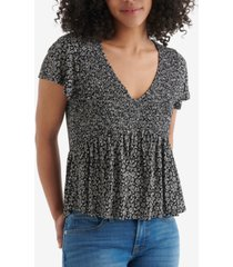 lucky brand smocked floral-print babydoll top