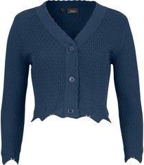 bolero in maglia traforata con maniche a 3/4 (blu) - bpc bonprix collection