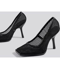 na-kd shoes squared toe mesh pumps - black