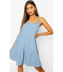 tier denim cami dresss, light blue