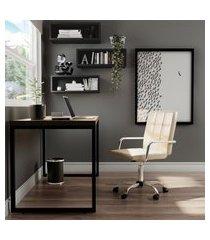 cadeira de escritório administrativa giratória fitz bege