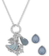 anne klein silver-tone winter charm pendant necklace & earring set