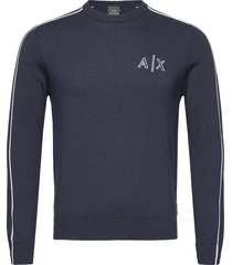 armani exchange pullover gebreide trui met ronde kraag blauw armani exchange