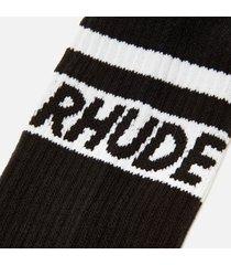 rhude men's two stripe logo socks - black/white