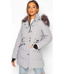 faux fur trim parka coat, grey