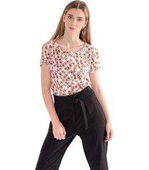 camiseta para mujer  estampado floral, manga corta, cuello redondo color-multicolor-talla-m