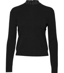 neck logo sweater gebreide trui zwart calvin klein jeans