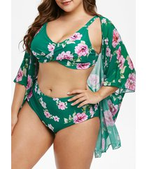 plus size flower print cover up tankini swimsuit