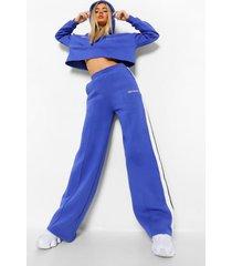 korte gestreepte hoodie & wide leg joggingbroek, cobalt
