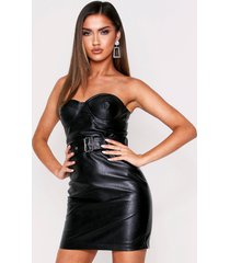 cupped strapless belted pu dress, black