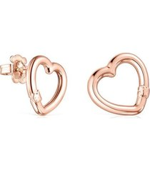 pendientes pequeños tous hold corazón de plata vermeil rosa 012343560