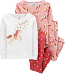 carter's baby girl 4-piece horse snug fit cotton pjs