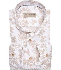 john miller overhemd beige bloemen tailored fit