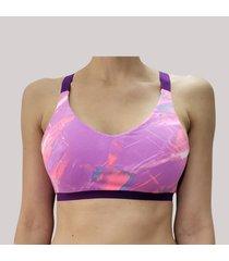 top deportivo estampado alta sujeción morado violeta tykhe ava