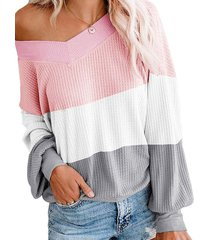 drop shoulder color blocking patchwork sweater