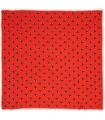 women's kenzo multi eyes square modal & silk scarf, size one size - red