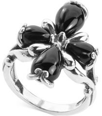 carolyn pollack black agate cross statement ring in sterling silver