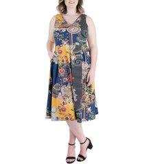 plus size paisley sleeveless v neck pocket midi dress