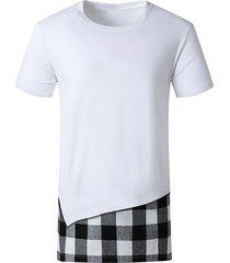 plaid print side slit faux twinset t-shirt