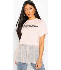 slogan dobby mesh frill t-shirt, blush