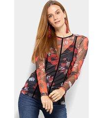 blusa colcci floral tule feminina