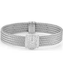 18k white gold, stainless steel, & diamond pendant bracelet