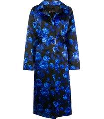 richard quinn floral print belted coat - blue
