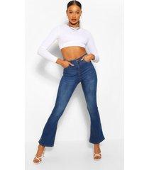 high rise stretch spijkerbroek met wijd uitlopende pijpen, middenblauw