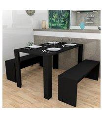 conjunto de mesa de jantar retangular liv com 4 bancos | banquetas preto