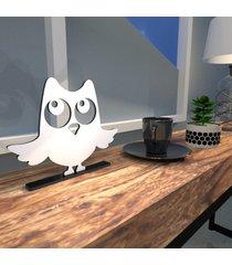 escultura de mesa mdf coruja simpática branco único