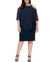 alex evenings plus size beaded cold-shoulder popover dress
