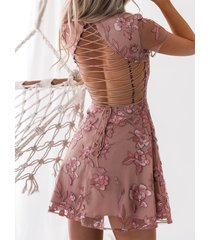 pink floral embroidered cutout waist criss-cross back mini dress