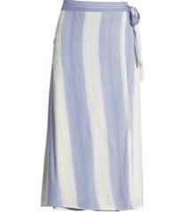 women's caslon faux wrap midi skirt, size medium - ivory