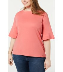 tommy hilfiger plus size cotton flared-sleeve top, created for macy's