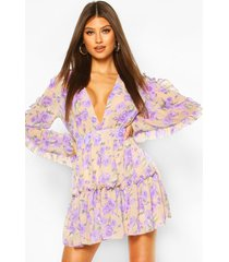 floral print ruffle sleeve skater dress, stone