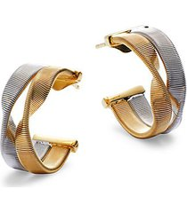 18k two-tone gold post hoop earrings