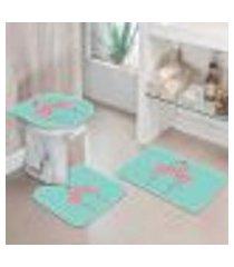 kit 3 tapetes decorativos para banheiro flamingos 40x60