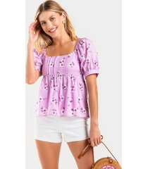 amelia floral babydoll blouse - violet