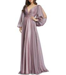 mac duggal mesh balloon-sleeve gown